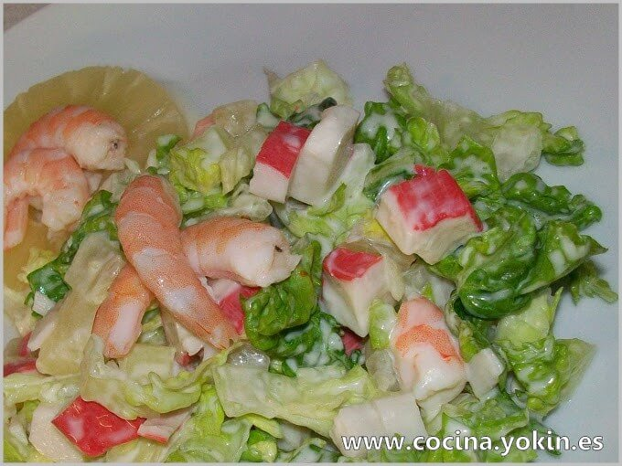 PRAWN SALAD - Salad made with prawn on a bed of lettuce. Shrimp also can be used. It is a quick and easy dish to prepare.